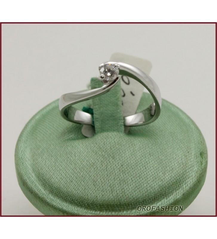 Anello in oro bianco 18kt diamante solitario ct. 0.16 Valore 650 - 2511133