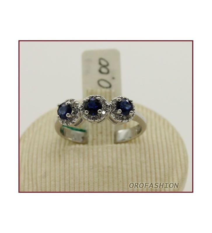 Anello in oro bianco 18KT con zaffiri e diamanti 27110317 - Valore 970