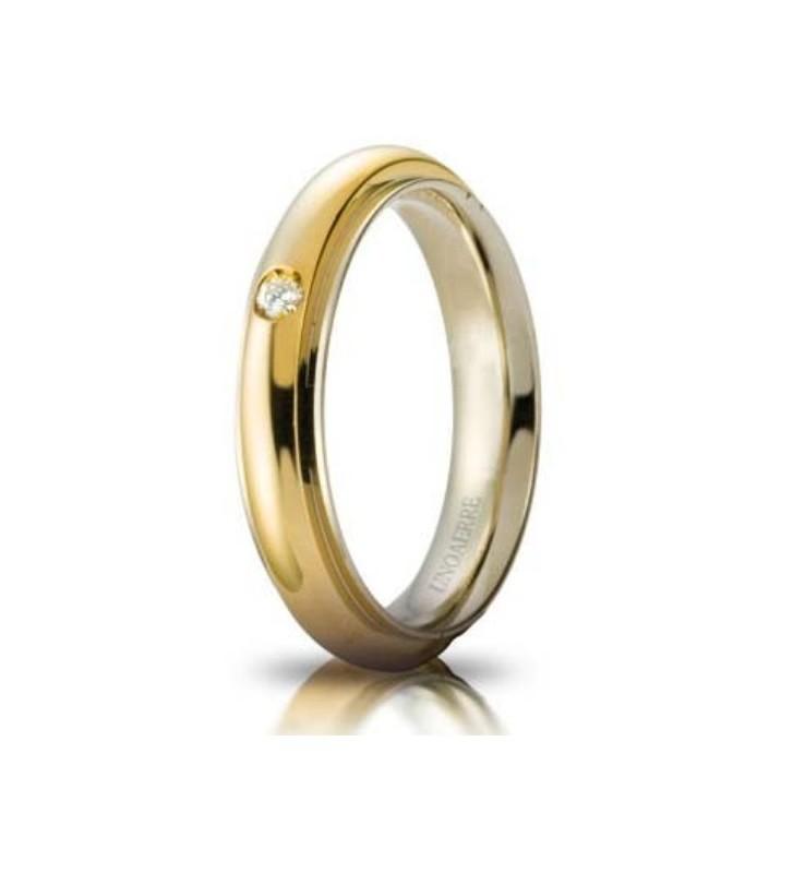 Fedi UNOAERRE Fedi Brillanti Promesse Andromeda in oro bicolore con diamante
