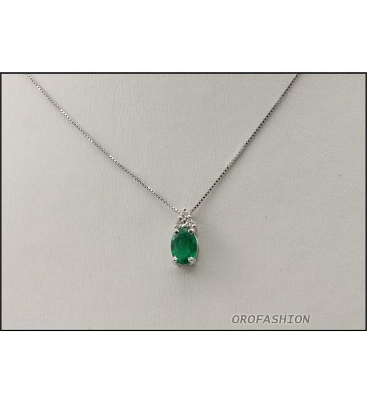 Girocollo in oro bianco 18kt smeraldi e diamanti Valore 780 - 2081429
