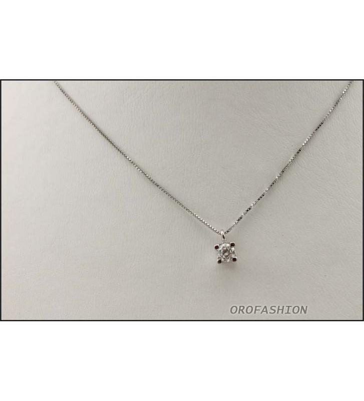 Girocollo oro bianco 18Kt con diamante solitario ct 0.23 Valore 940 - 2081432