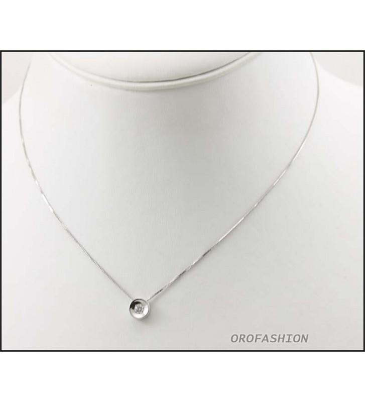 Girocollo oro bianco 18Kt con diamante solitario ct 0.012 Valore 390 - 3009142