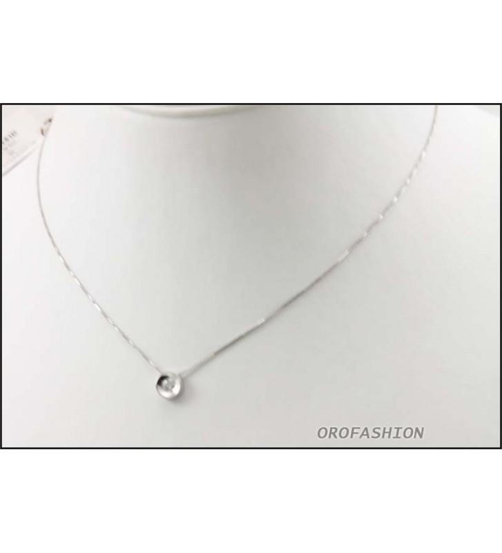 Girocollo oro bianco 18Kt con diamante solitario ct 0.015 Valore 490 - 3009143