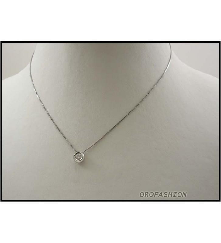 Girocollo oro bianco 18Kt con diamante solitario ct 0.20 - 2211148