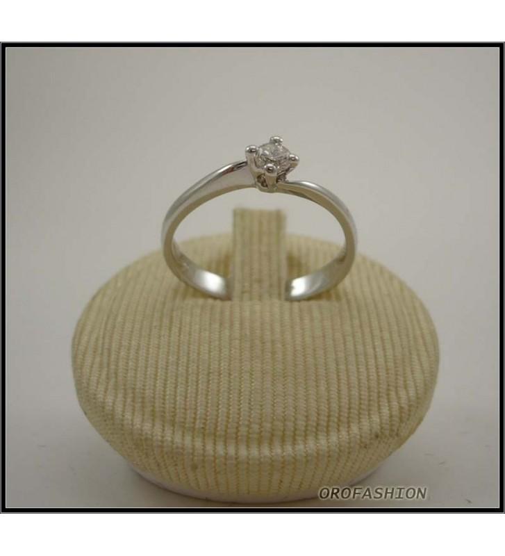 Anello oro bianco 18kt con diamante solitario - 22111411