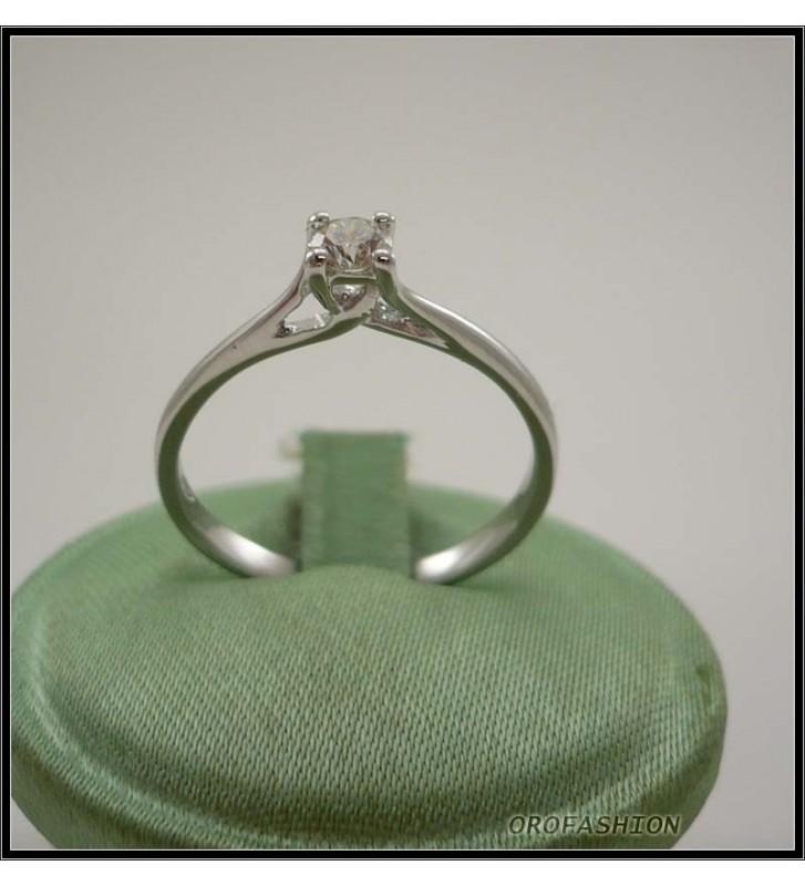 Anello oro bianco 18kt con diamante solitario - 22111414