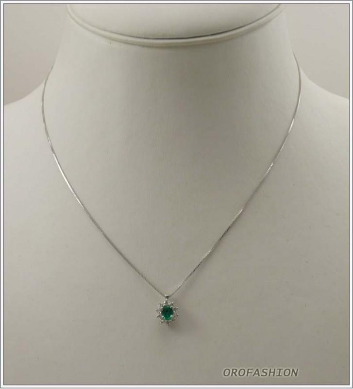 Girocollo oro bianco smeraldo e diamanti - F2041514