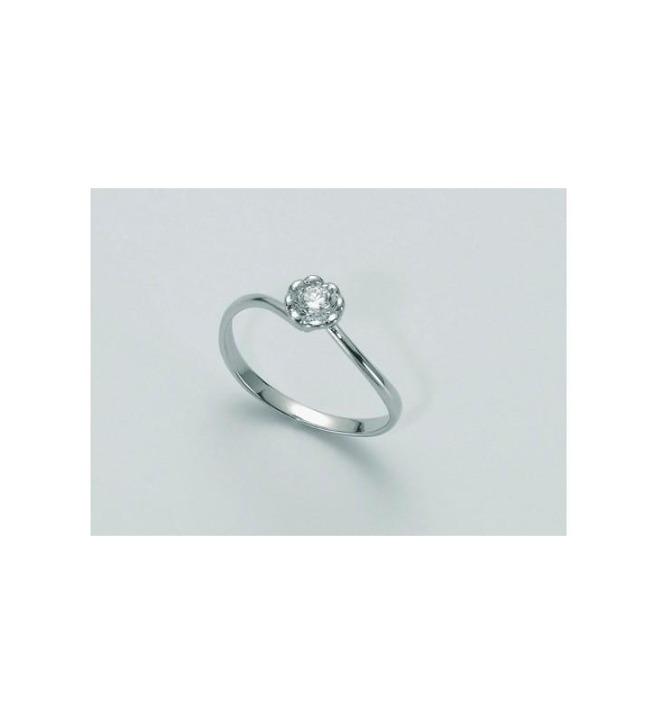 SALDI Anello MILUNA oro bianco 9Kt diamante solitario LID2729-010SX
