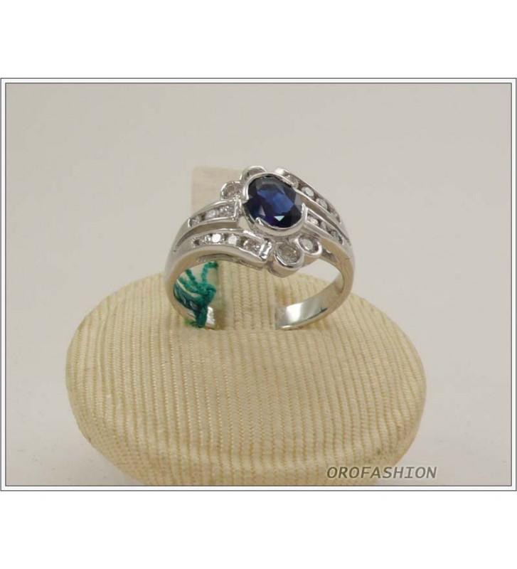 Anello oro bianco 18kt con zaffiro e diamanti - 165153