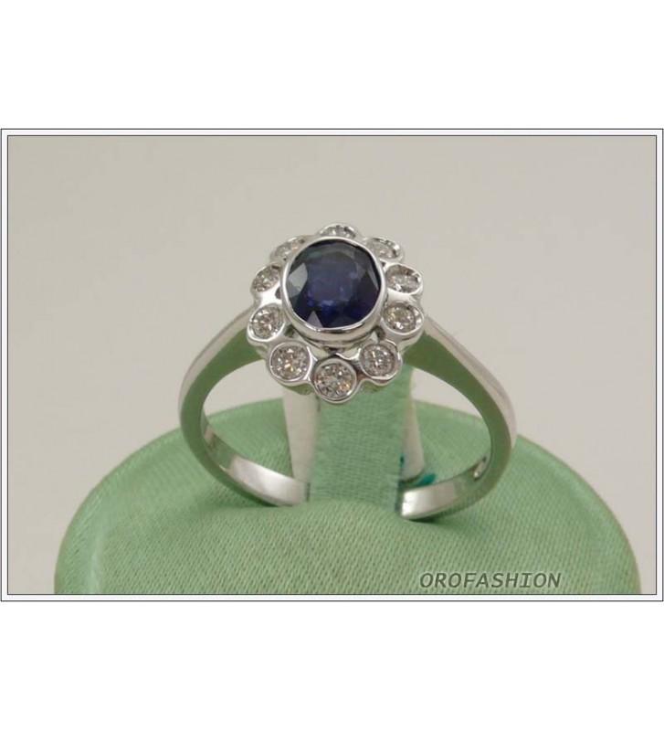 Anello oro bianco 18kt con zaffiro e diamanti - 165154